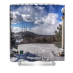 Cobbs Hill Park In Winter Shower Curtain by Tim Buisman