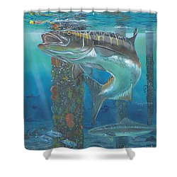 Cobia Strike In0024 Shower Curtain by Carey Chen