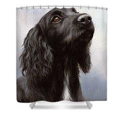 Cocker Spaniel Painting Shower Curtain by Rachel Stribbling