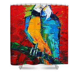 Coco The Talkative Parrot Shower Curtain by Mona Edulesco
