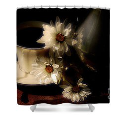 Coffee And Daisies  Shower Curtain by Lois Bryan