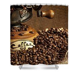 Coffee Grinder With Beans Shower Curtain by Gunter Nezhoda