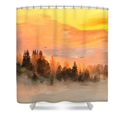 Cold Foggy Spring Morning Shower Curtain by Angela A Stanton