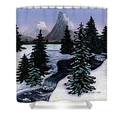 Cold Mountain Brook Painterly Shower Curtain by Barbara Griffin
