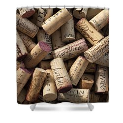 Collection Of Fine Wine Corks Shower Curtain by Adam Romanowicz