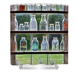 Collector - Bottles - Milk Bottles  Shower Curtain by Mike Savad