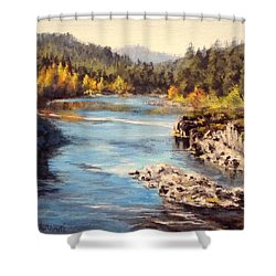 Colliding Rivers Fall Shower Curtain by Karen Ilari