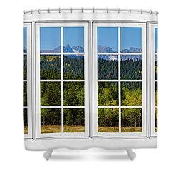 Colorado Rocky Mountains White Window Frame View Shower Curtain by James BO  Insogna