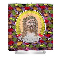 Colored Background Jesus Shower Curtain by Donna Munro