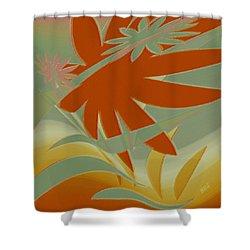 Colored Jungle Orange Splash Shower Curtain by Ben and Raisa Gertsberg