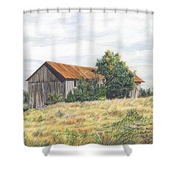 Colored Pencil Barn Shower Curtain by Marshall Bannister