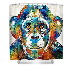 Colorful Chimp Art - Monkey Business - By Sharon Cummings Shower Curtain by Sharon Cummings