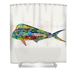 Colorful Dolphin Fish By Sharon Cummings Shower Curtain by Sharon Cummings