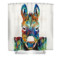 Colorful Donkey Art - Mr. Personality - By Sharon Cummings Shower Curtain by Sharon Cummings