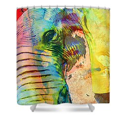 Colorful Elephant Art By Sharon Cummings Shower Curtain by Sharon Cummings