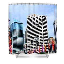Colorful Flags Lead To City By Kaye Menner Shower Curtain by Kaye Menner