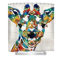 Colorful Giraffe Art - Curious - By Sharon Cummings Shower Curtain by Sharon Cummings