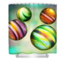 Colorful Glass Marbles Shower Curtain by Marianna Mills