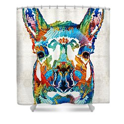 Colorful Llama Art - The Prince - By Sharon Cummings Shower Curtain by Sharon Cummings
