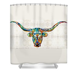Colorful Longhorn Art By Sharon Cummings Shower Curtain by Sharon Cummings