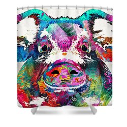 Colorful Pig Art - Squeal Appeal - By Sharon Cummings Shower Curtain by Sharon Cummings