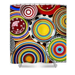 Colorful Plates Shower Curtain by Garry Gay