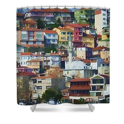 Colorful Town Shower Curtain by Joan Carroll