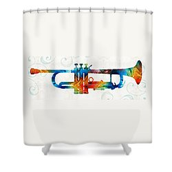 Colorful Trumpet Art Color Fusion By Sharon Cummings Shower Curtain by Sharon Cummings