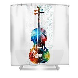 Colorful Violin Art By Sharon Cummings Shower Curtain by Sharon Cummings