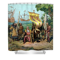 Columbus Taking Possession Of The New Country Shower Curtain by War Is Hell Store