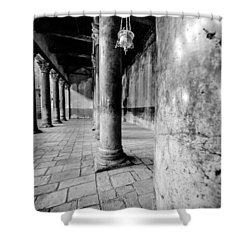 Columns At The Church Of Nativity Black And White Vertical Shower Curtain by David Morefield