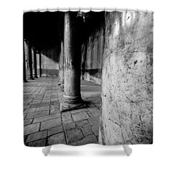 Columns At The Church Of Nativity Shower Curtain by David Morefield