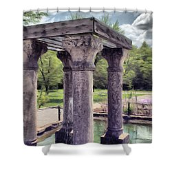 Columns In The Water Shower Curtain by Jeff Kolker