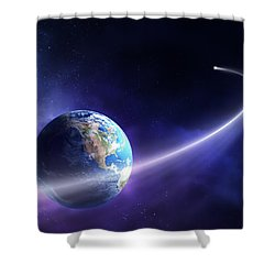 Comet Moving Past Planet Earth Shower Curtain by Johan Swanepoel