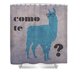 Como Te Llamas Humor Pun Poster Art Shower Curtain by Design Turnpike