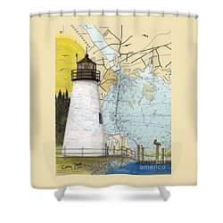 Concord Pt Lighthouse Md Nautical Chart Map Art Cathy Peek Shower Curtain by Cathy Peek