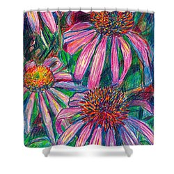 Coneflower Twirl Shower Curtain by Kendall Kessler