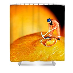 Construction On Oranges Shower Curtain by Paul Ge
