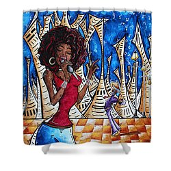 Contemporary New Orleans Jazz Blues Original Painting Singin In The Streets Shower Curtain by Megan Duncanson