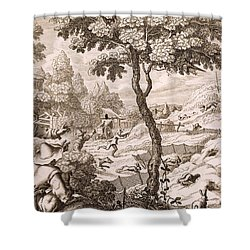 Cony Catching, Engraved By Wenceslaus Shower Curtain by Francis Barlow