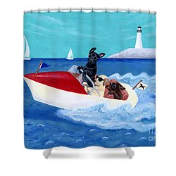 Cool Motorboat Labradors Shower Curtain by Naomi Ochiai