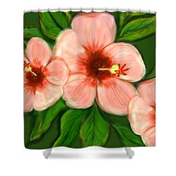 Coral Hibiscus  Shower Curtain by Christine Fournier