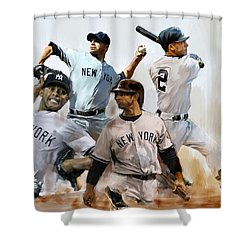 Core  Derek Jeter Mariano Rivera  Andy Pettitte Jorge Posada Shower Curtain by Iconic Images Art Gallery David Pucciarelli