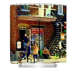 Corner Laurier Marche Maboule Depanneur Summer Stroll With Baby Carriage Montreal Street Scene Shower Curtain by Carole Spandau