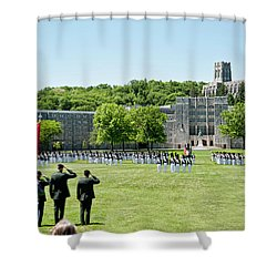 Corps Of Cadets Present Arms Shower Curtain by Dan McManus
