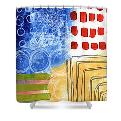 Corridor- Colorful Contemporary Abstract Painting Shower Curtain by Linda Woods