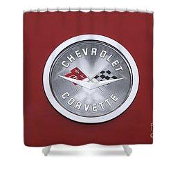 Corvette Emblem Shower Curtain by Neil Zimmerman