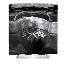 Corvette In Black And White Shower Curtain by Bill Gallagher
