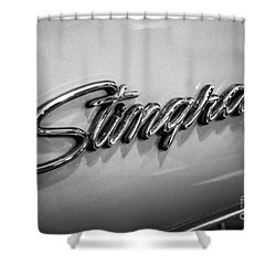 Corvette Stingray Emblem Black And White Picture Shower Curtain by Paul Velgos