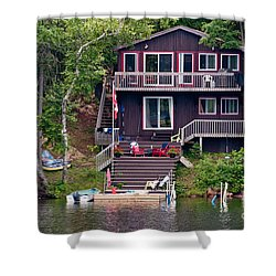 Cottage On The Water Shower Curtain by Les Palenik